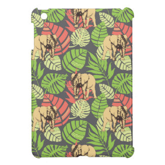 Exotic Jungle Leaves And Elephants Cover For The iPad Mini