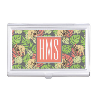 Exotic Jungle Leaves And Elephants | Monogram Business Card Holders
