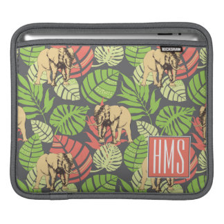 Exotic Jungle Leaves And Elephants | Monogram Sleeves For iPads