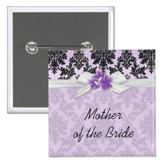 Exotic Lavender Plumeria Damask Button Pinback Button