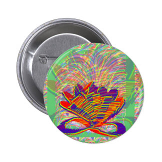 Exotic LOTUS and Grass Bushes on background 6 Cm Round Badge