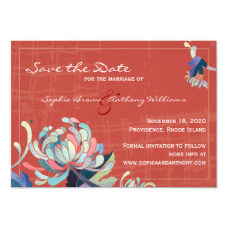"Exotic Mums Unique Floral Save the Date Invitation 5"" X 7"" Invitation Card"