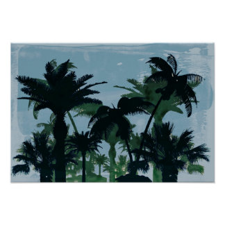 Exotic Palm Trees Silhouettes Water Color Poster