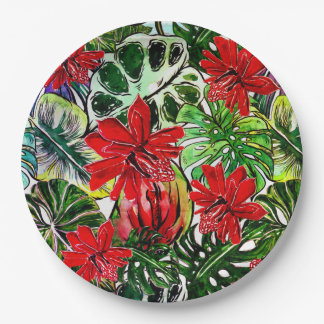 Exotic Passiflora Flowers Jungle Watercolor Patter Paper Plate