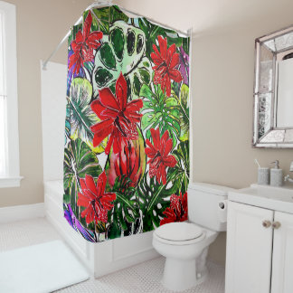 Exotic Passiflora Flowers Jungle Watercolor Patter Shower Curtain