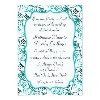Exotic Pattern Teal Wedding 13 Cm X 18 Cm Invitation Card