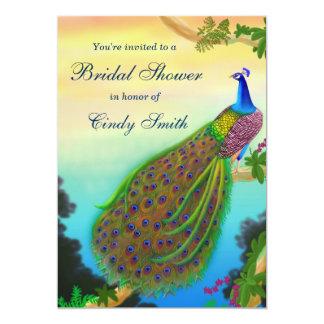 "Exotic Peacock Bridal Shower Invitation 5"" X 7"" Invitation Card"