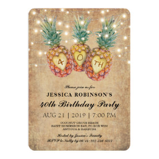 Exotic Pineapple Tropical Forty Birthday   40th Card