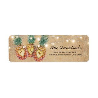 Exotic Pineapple Tropical Wedding Return Address Label
