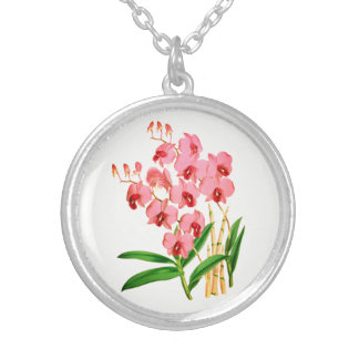 Exotic Pink Orchid Pendant Necklace