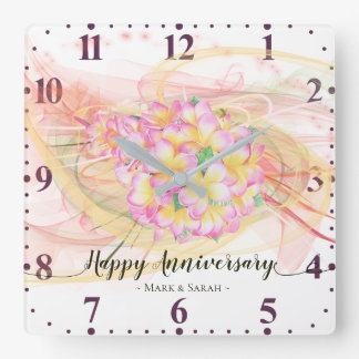 Exotic Plumeria Flower Abstract Art Calligraphy Square Wall Clock