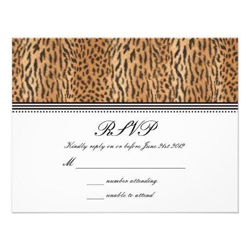 Exotic Print Animal Skin Wedding RSVP Card Announcement