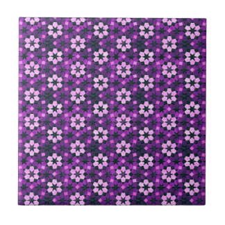 Exotic Purple Flower Pattern Tiles