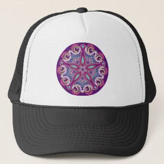 Exotic Purple Fractal mandala starfish ornament Cap
