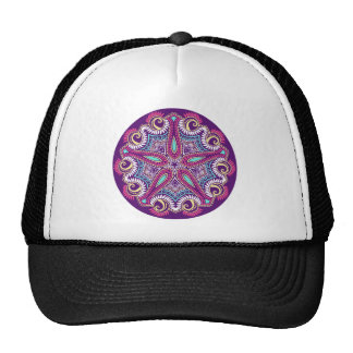 Exotic Purple Fractal mandala starfish ornament Cap