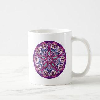 Exotic Purple Fractal mandala starfish ornament Coffee Mug