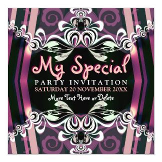 Exotic Purple Girls Boudoir Party  Invitations