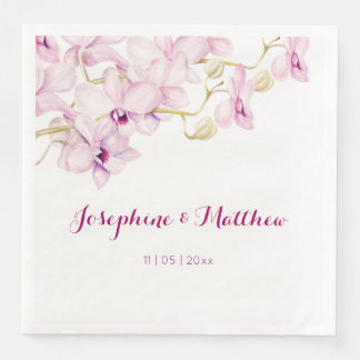 Exotic Purple Orchid Watercolor Wedding Paper Serviettes