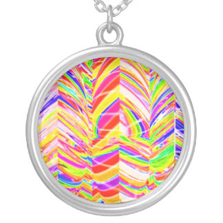 Exotic Rainbow Rock Patterns Round Pendant Necklace