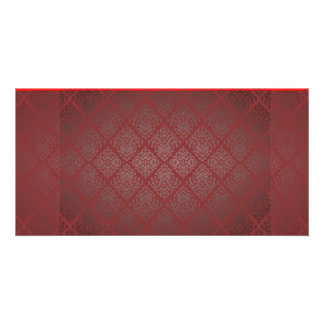 Exotic Red and Black damask wedding gift Photo Card Template