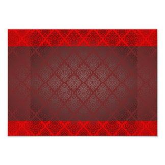 Exotic Red and Black damask wedding gift Posters