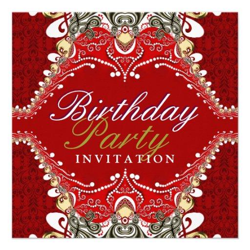 Exotic Red Batik Damask Birthday Party Invitations