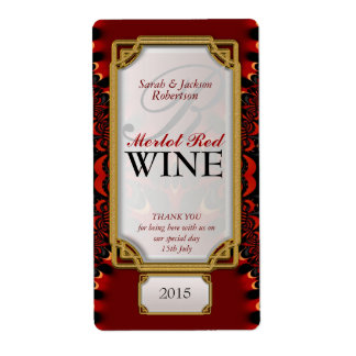 Exotic Red Black Lace Custom Wine Bottle Labels
