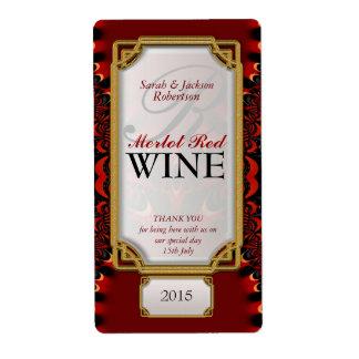 Exotic Red Black Lace Custom Wine Bottle Labels