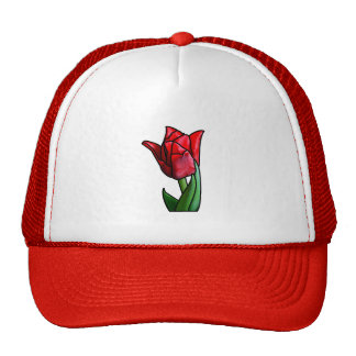 Exotic Red Stained Glass Tulip Cap