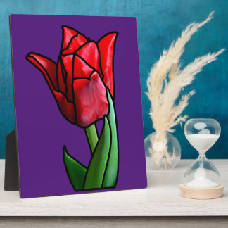 Exotic Red Stained Glass Tulip Photo Plaques