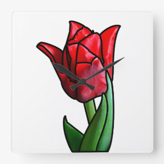 Exotic Red Stained Glass Tulip Wallclock