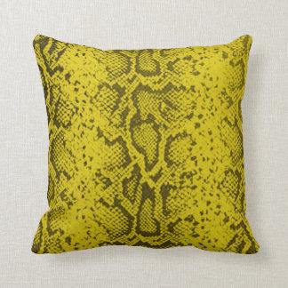 Exotic Snakeskin Pattern   yellow Cushion