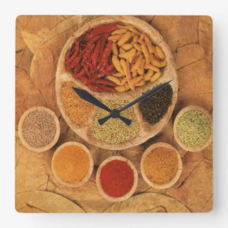 Exotic spices square wall clock