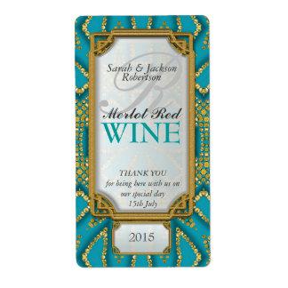 Exotic Teal Gold Custom Wine Bottle Labels