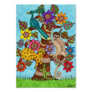 Exotic Tree of Life Folk Art Poster