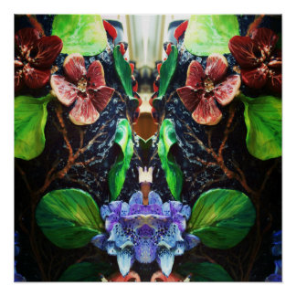 Exotic Tropical Blue Orchid  Design Poster
