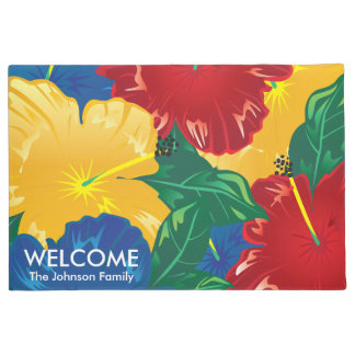 Exotic Tropical Hibiscus Doormat