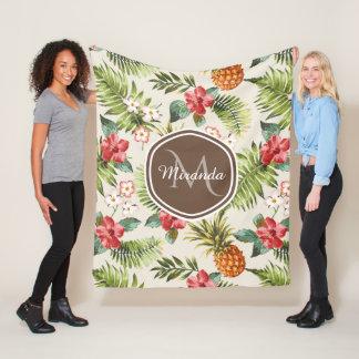 Exotic Tropical Pineapple Floral Brown Monogram Fleece Blanket