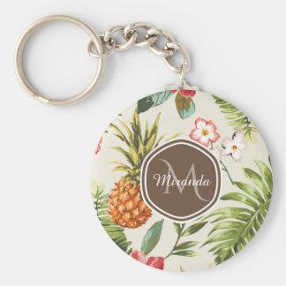 Exotic Tropical Pineapple Floral Brown Monogram Key Ring