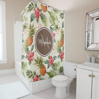 Exotic Tropical Pineapple Floral Brown Monogram Shower Curtain