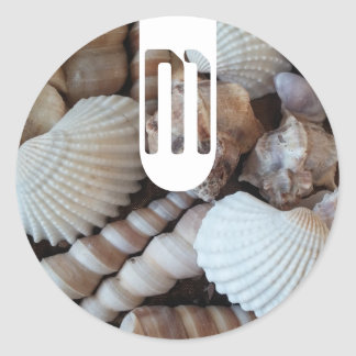 Exotic Tropical Summer Sea Shells Photography Classic Round Sticker