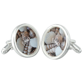 Exotic Tropical Summer Sea Shells Photography Cuff Links