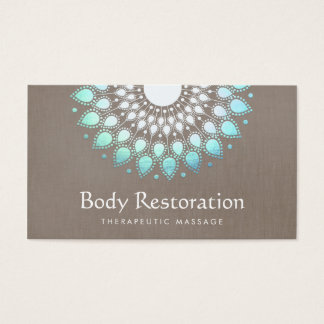 Exotic Turquoise Floral Lotus Health and Wellness Business Card