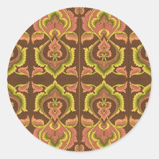 Exotic Vintage Autumn Colours Brown Green Yellow Round Sticker