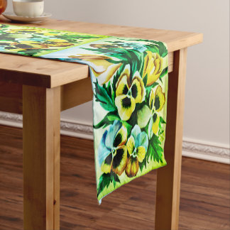 Exotic Watercolor Green Pansies Short Table Runner