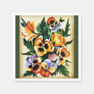 Exotic Watercolor Multicolored Pansies Paper Napkin