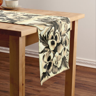 Exotic Watercolor Sepia Pansies Short Table Runner