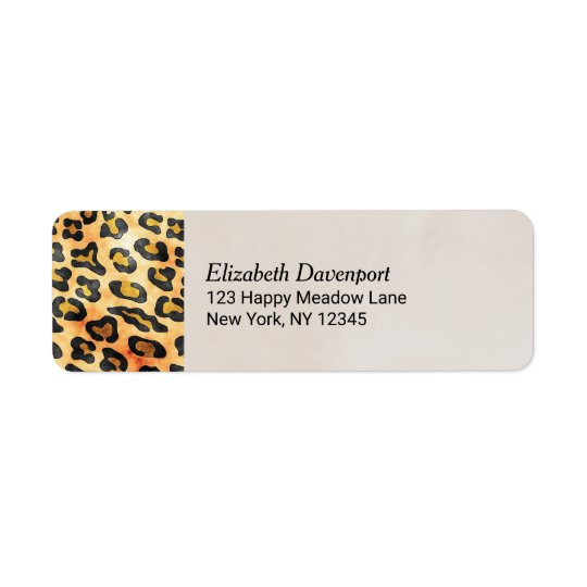 Exotic Wild Animal Print Personalised Return Address Label
