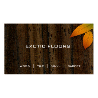 Exotic Wood Business Card with autumn Leaf