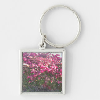 Exotice Flowers DIY TEMPLATE Giveaway Party GIFTS Silver-Colored Square Key Ring